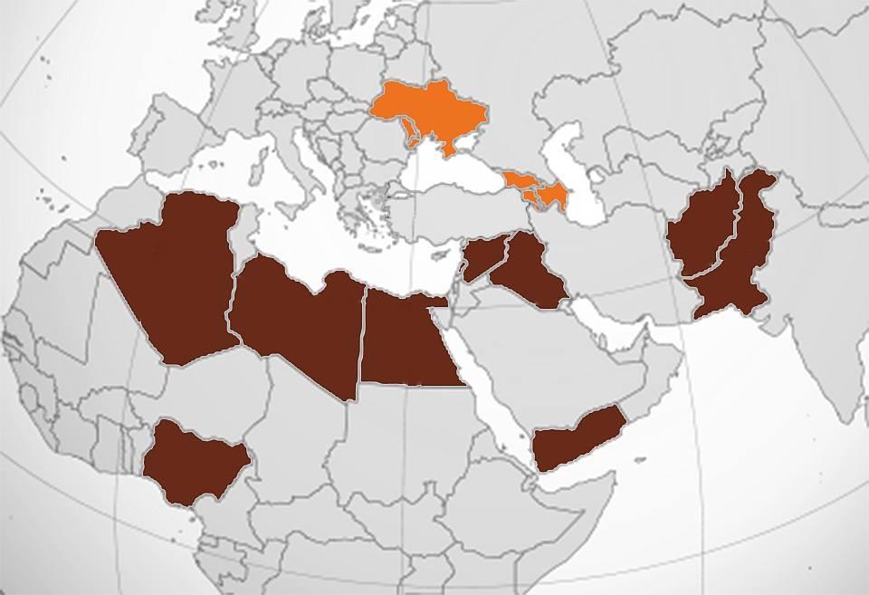 Рис.7. Зона действия ИГИЛ (коричневым), ЛНР, ДНР, ПМР, НКР, РА и РЮО (оранжевым).