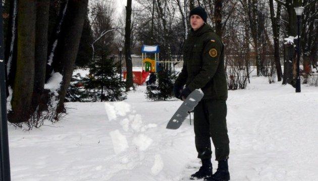 Нацгвадейцы убирают снег во львовском парке