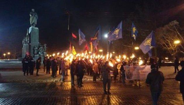 Факельное шествие в центре Харькова превратилось в митинг