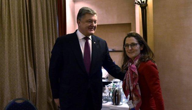Порошенко и Фриланд обсудили свободную торговлю