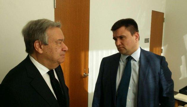Ukrainian Foreign Minister Klimkin, UN Secretary General Guterres discuss Minsk agreements implementation