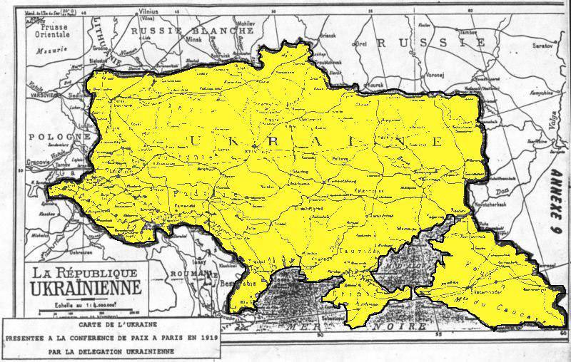 Межі України, які були заявлені делегацією УНР на Паризькій мирній конференції в 1919-20 рр