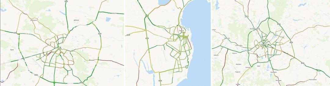 Карта автодоріг Львова (ліворуч), Одеси (центр) Харкова (праворуч)
