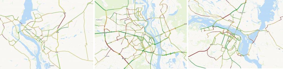 Карта автодоріг Запоріжжя (ліворуч), Києва (центр) і Дніпра (праворуч)