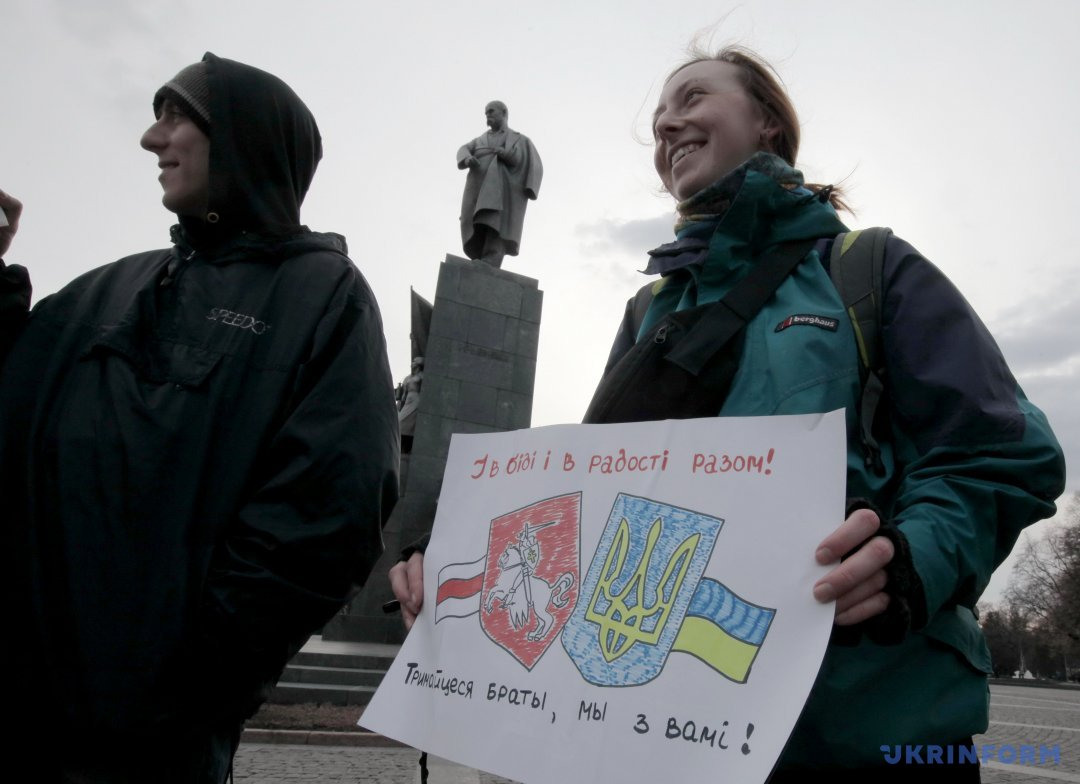 Вукраинских городах прошли акции солидарности сбеларусской оппозицией