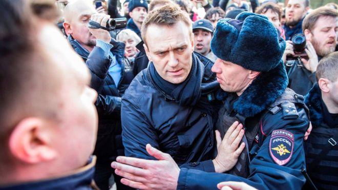 Среди задержанных был и организатор протеста против коррупции Алексей Навальный. Фото: AFP
