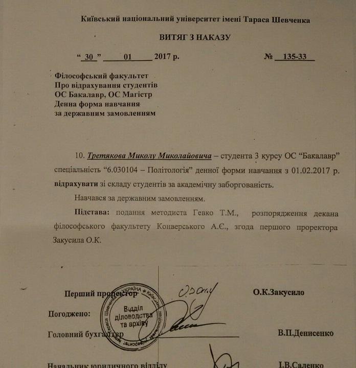 Витяг з наказу про відрахування Миколи Третякова - студента КНУ