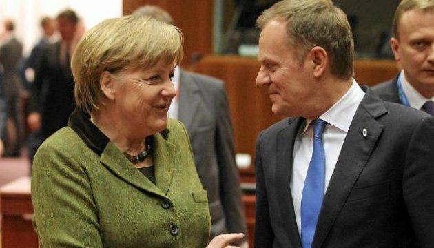 """Меркель вважає переобрання Туска головою Євроради """"знаком стабільності для ЄС"""""""