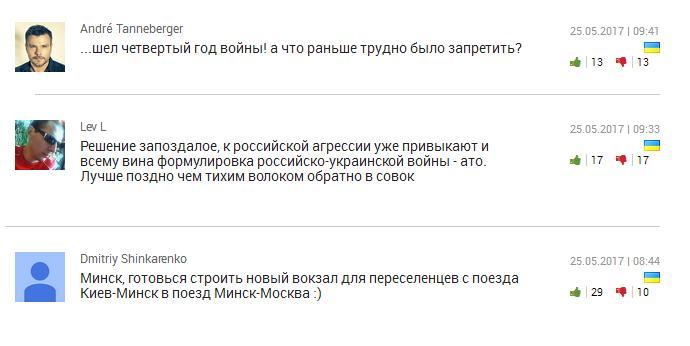 Коментарі українських користувачів на сайті «Новое время»