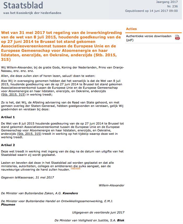 Eu Ukraine Association Netherlands Publishes Document On