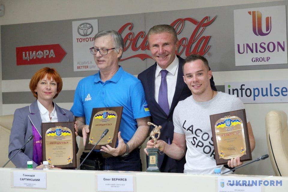 Олег Верняев, Сергей Бубка, Геннадий Сартинський, Оксана Омелянчик (справа налево)
