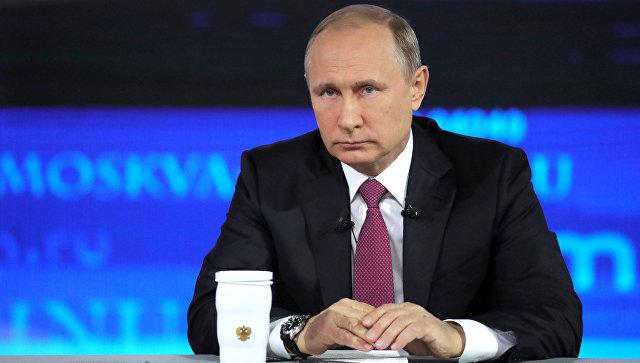 Президент РФ Володимир Путін під час щорічної Прямої лінії. 15 червня, 2017