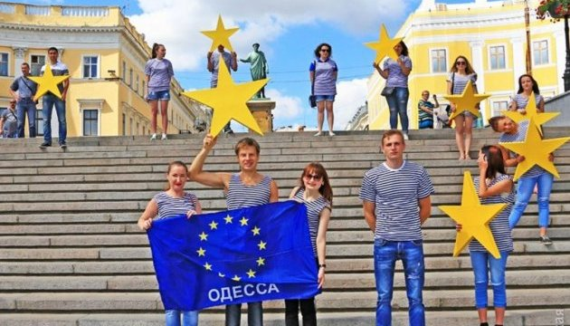 Безвіз: В Одесі зобразили прапор Євросоюзу на Потьомкінських сходах