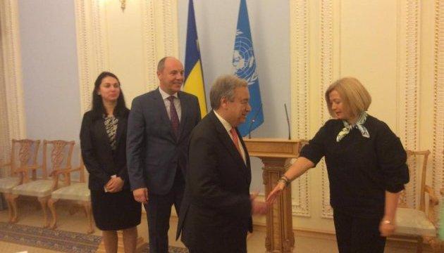 Геращенко закликала генсека ООН до активнішої позиції у звільненні заручників