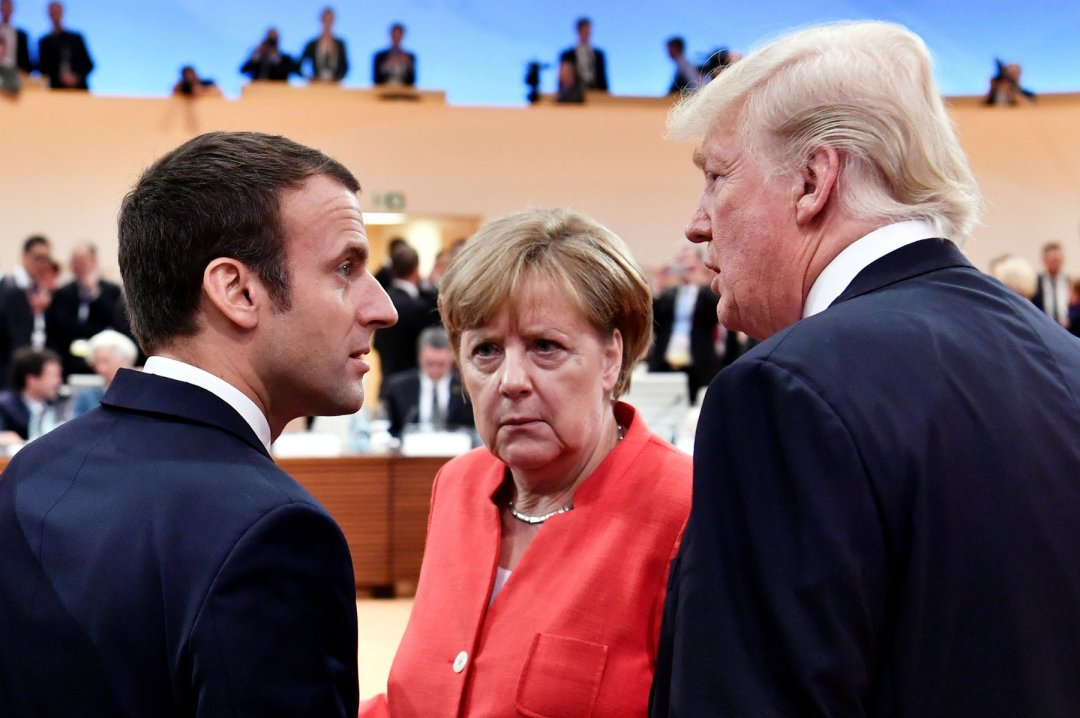 Еммануель Макрон, Ангела Меркель, Дональд Трамп на саміті G-20 у Гамбурзі