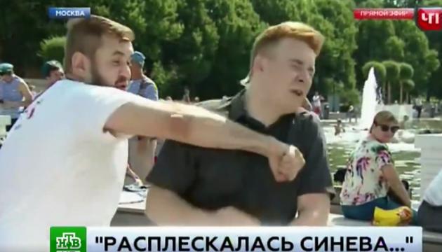 В Москве пьяный ВДВшник разбил лицо журналисту в прямом эфире
