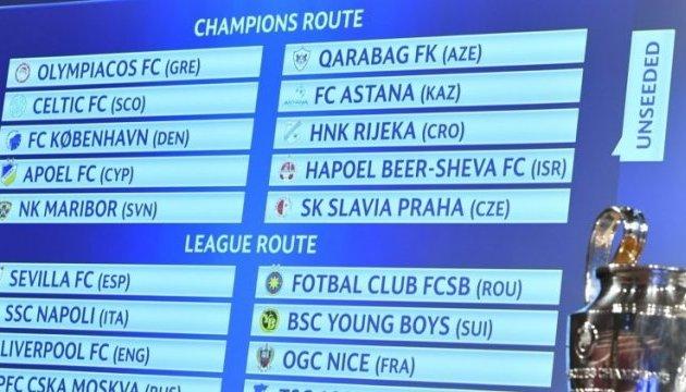 Состоялась жеребьевка раунда плей-офф Лиги чемпионов УЕФА