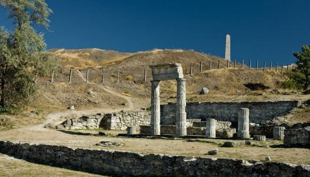 Ruins of ancient Panticapaeum in Crimean town of Kerch on fire