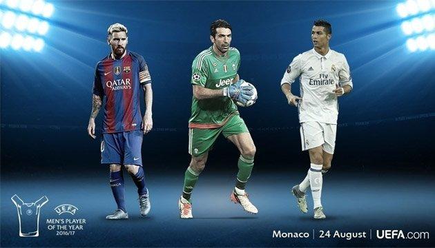 УЄФА: кращим гравцем Європи стане Буффон, Мессі або Роналду
