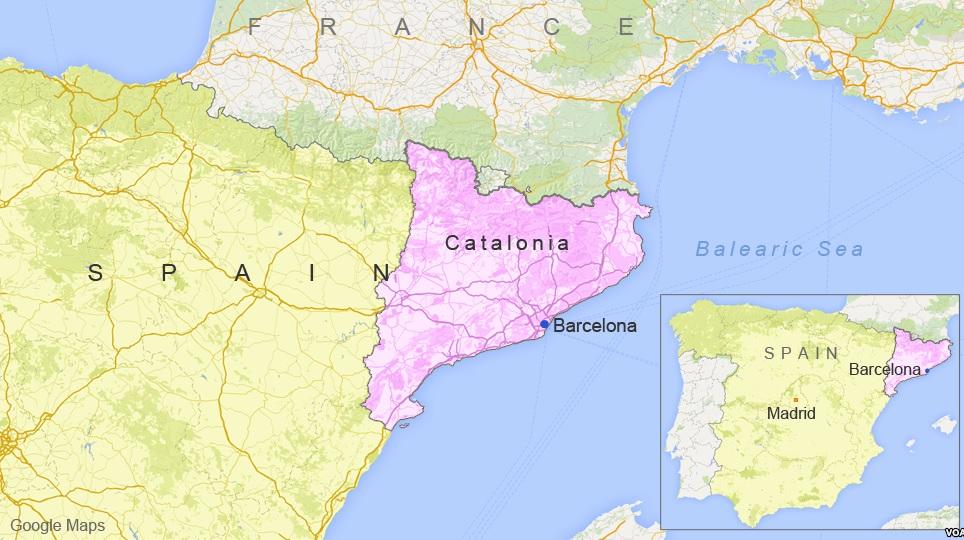 Каталонія (рожевим) - адміністративний регіон, автономна область в Іспанії
