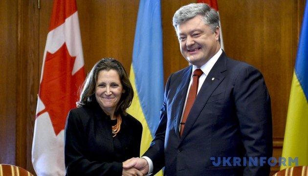 Порошенко з Фріланд обговорюють миротворців на Донбасі та деокупацію Криму