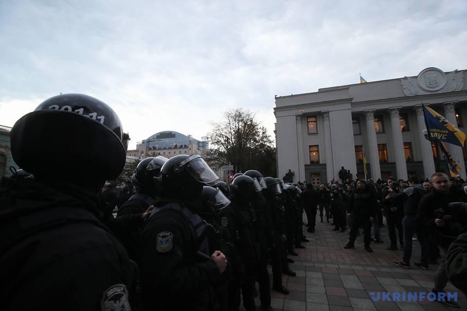 Украинские националисты столкнулись сполицией устен Рады