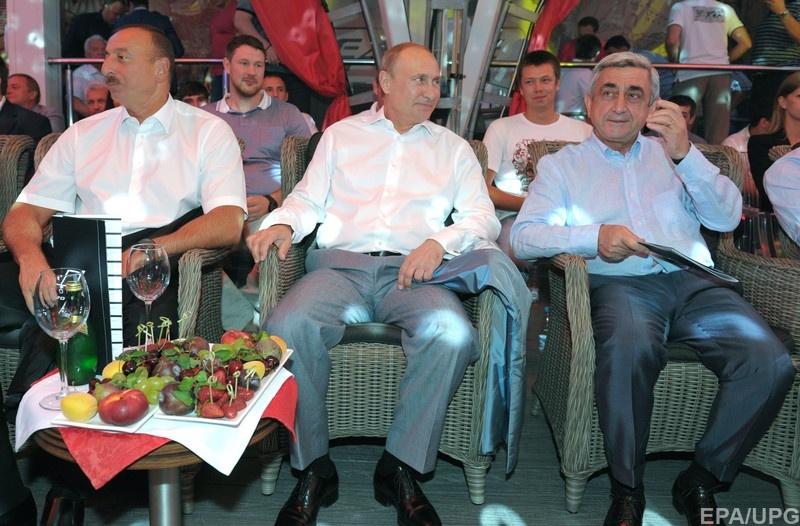 Президенти Азербайджану, Росії та Вірменї: Ільгам Алієв Володимир Путін та Серж Саргсян відповідно // Фото: EPA/UPG
