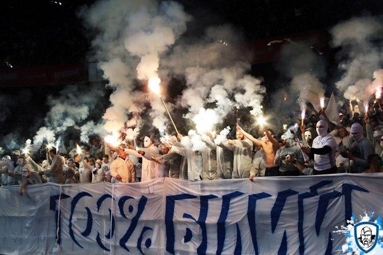 Цього року у травні під час матчу «Динамо-Шахтар» вболівальники «біло-синіх» проводили акцію «100% білий» // Фото:1927.kiev.