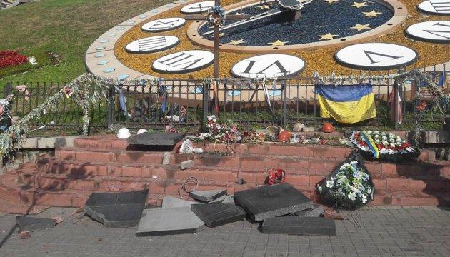 Un homme a brisé le monument à l'effigie de la Centurie Céleste à Kyiv (photos)