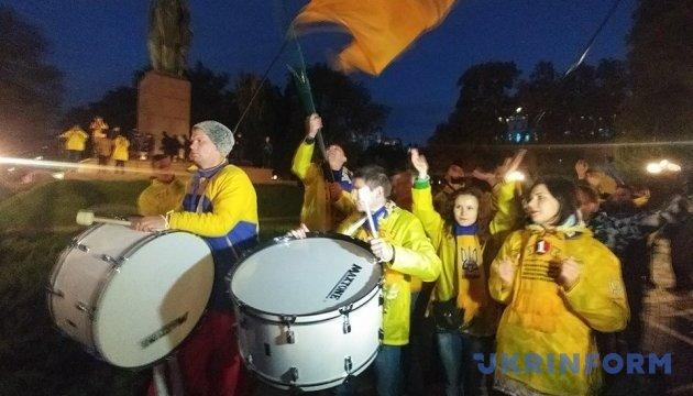 У Києві фани пройшли маршем перед матчем Україна-Хорватія