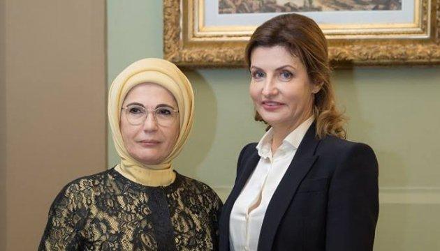Maryna Poroshenko, Emine Erdoğan discuss situation of IDPs in Ukraine and Crimean political prisoners