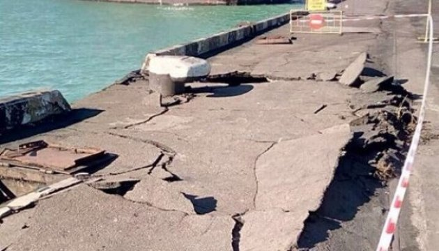 À Odessa, un cargo a heurté le quai (photos)