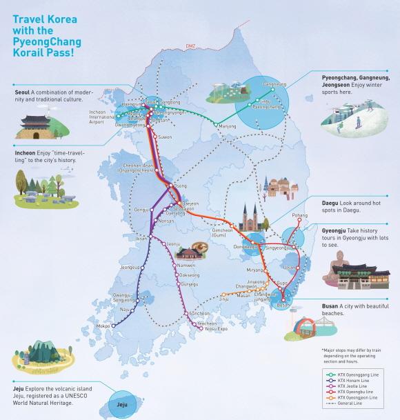 Маршрутна карта Pyeongchang Korail Pass