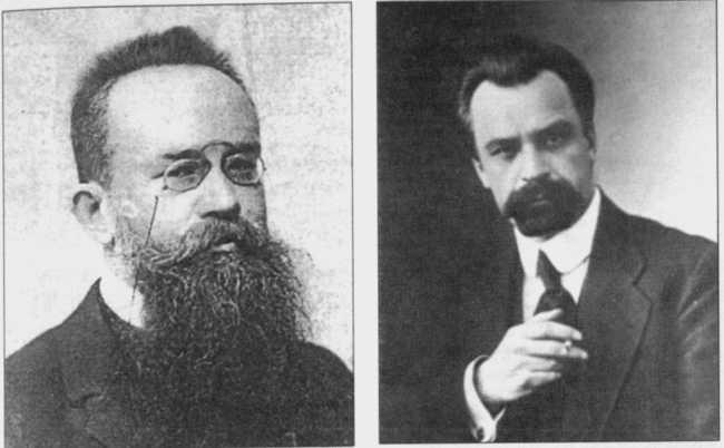 Лідери Центральної Ради: Михайло Грушевський і Володимир Винниченко