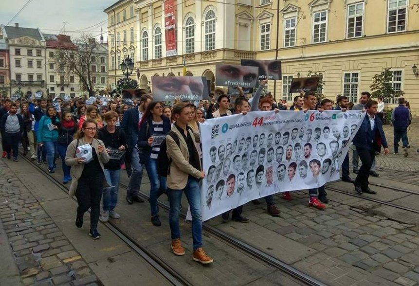 Львівські студенти вийшли на акцію у підтримку українських політв'язнів Кремля (22 вересня, 2017) // Фото: Zik