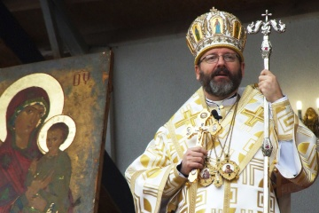 Oberhaupt der UGKZ zelebriert am Fest Verkündigung des Herrn Liturgie in Kyjiwer Sophienkathedrale