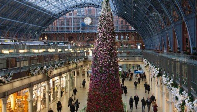 В Лондоне установили рождественскую ёлку из цветов
