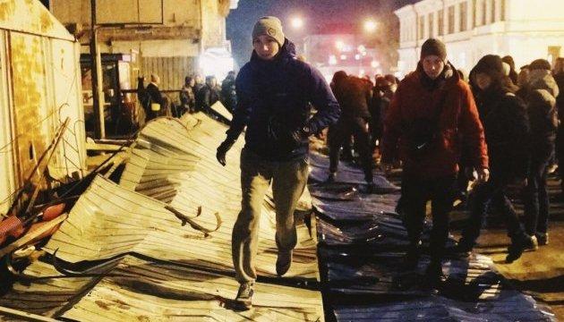 У Києві активісти заблокували будівельні роботи на місці Сінного ринку