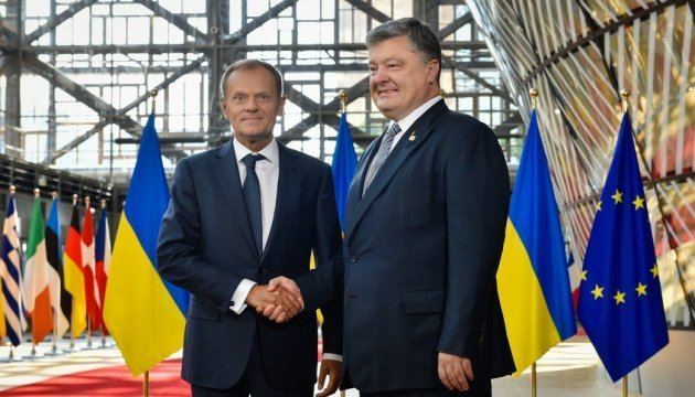 President Poroshenko meets Donald Tusk in Brussels. Video