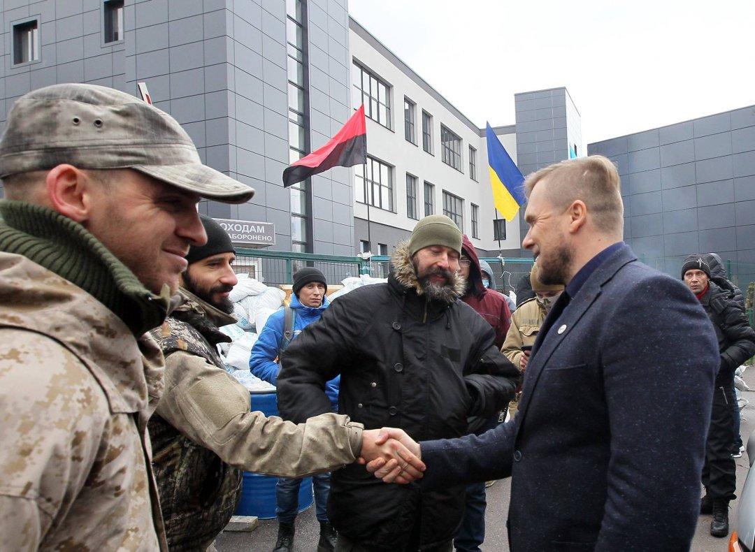 Олексій Сердюк (в кепці), Віталій Чорний разом з іншими членами руху