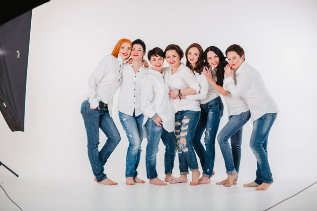 Зліва направо: Тетяна Грубенюк, Олена Соколовська, Юлія Волкова, Євгенія Барилко, Марина Соколова, Тетяна Осіпова, Олена Бєлячкова.