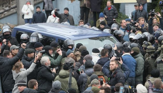 Supporters of Saakashvili pull him out of police van