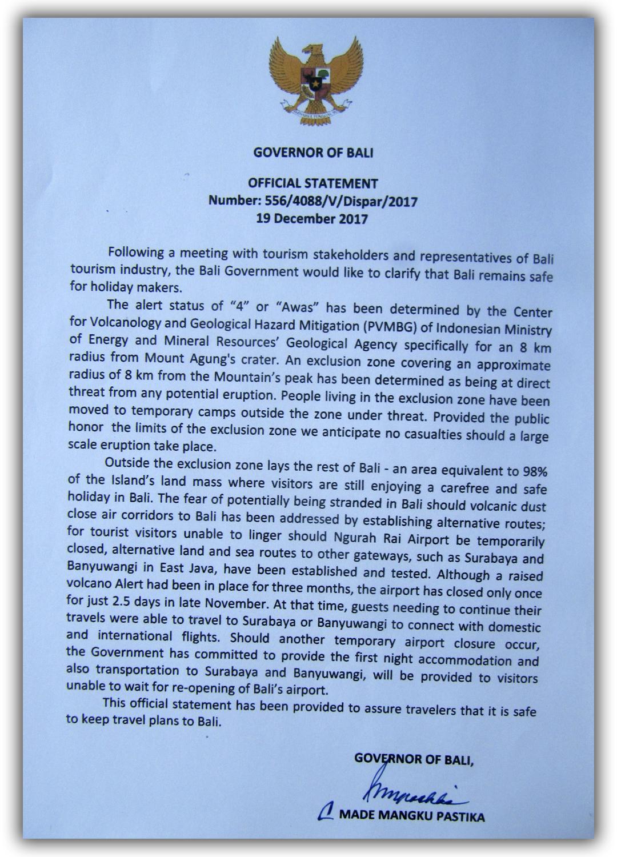 Постановление губернатора Бали об обеспечении безопасности для туристов на острове в связи с возможностями извержения вулкана Агунг