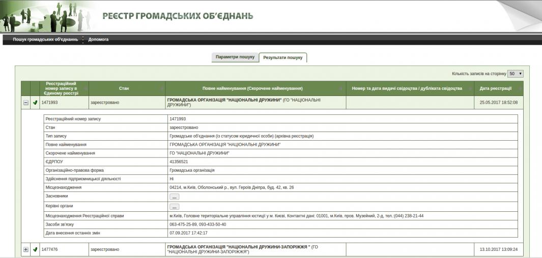 Скріншот з сайту Держреєстру громадських об'єднань