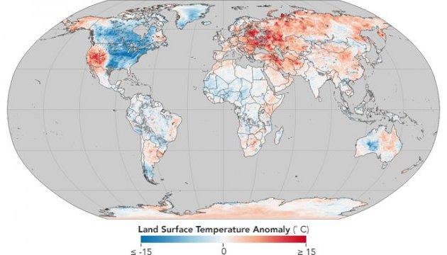 NASA показало температурні аномалії по всій Землі