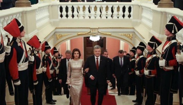 President Poroshenko holds diplomatic reception at Mariinsky Palace. Photos