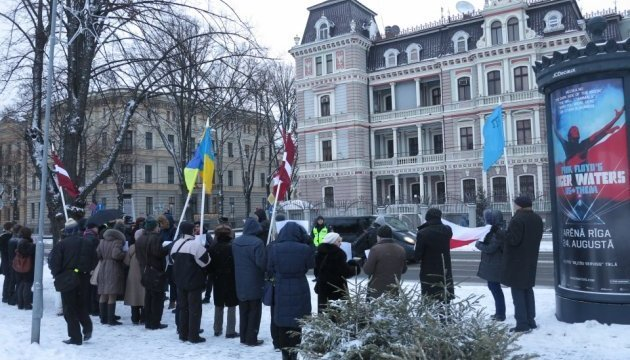 International action 'Stop Putin's War in Ukraine – Boycott' held in Riga. Photos, video