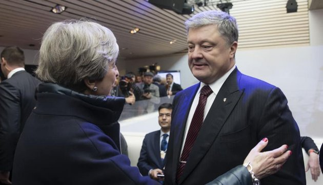 Poroshenko meets with leadership of Britain, Switzerland, Estonia, Lithuania in Davos