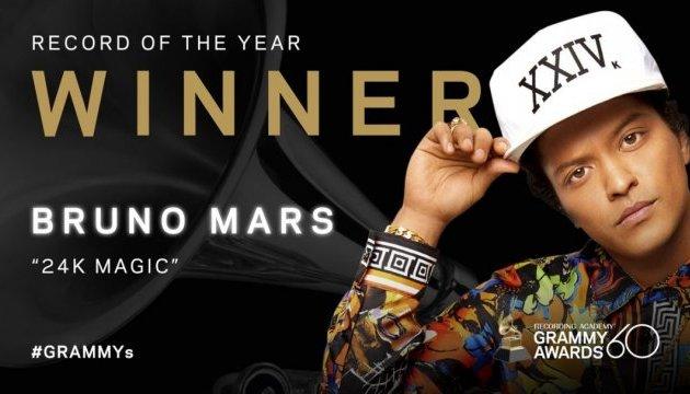 Бруно Марс получил Grammy за песню и запись года