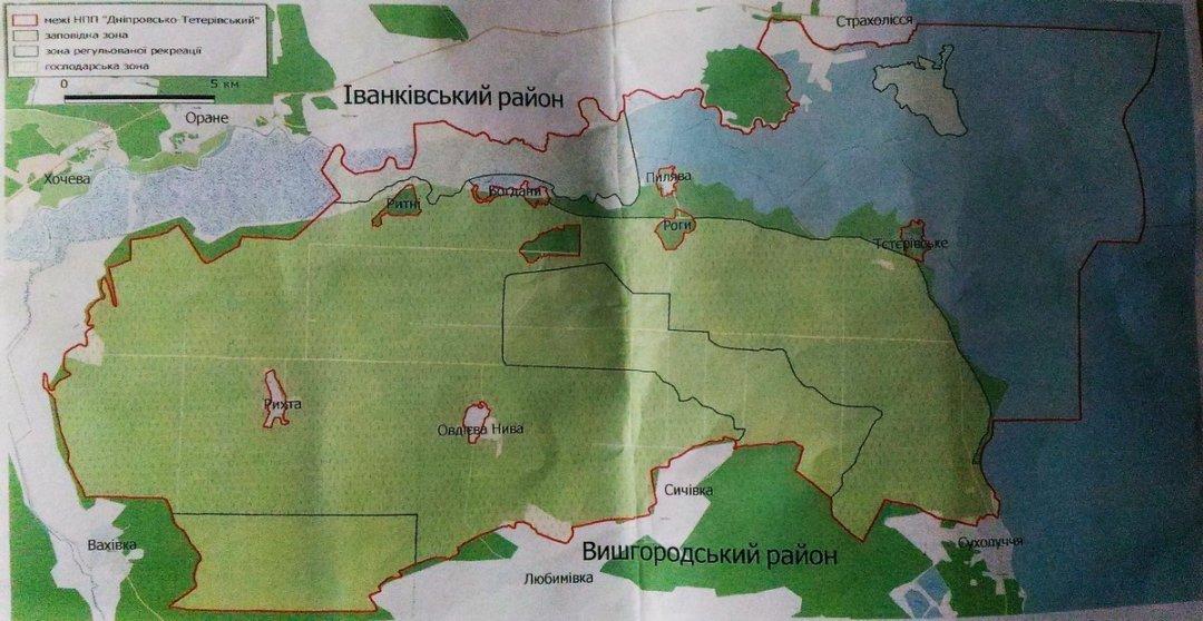 Карта-схема території національного природного парку «Дніпровсько-Тетерівський». Межі парку позначені червоним кольором.